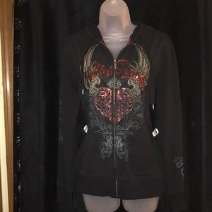 Harley-Davidson Red Heart Zip-up Hoodie